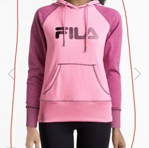 Pink FILA logo sweater with front pouch